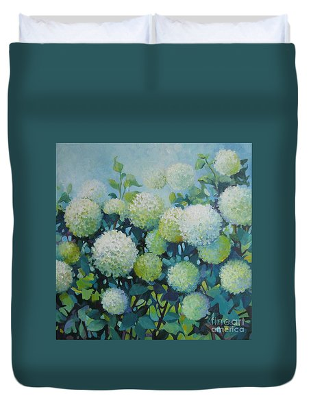 Duvet Cover featuring the painting Snowballs by Elena Oleniuc