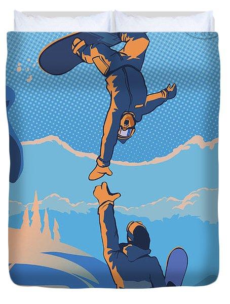 Snowboard High Five Duvet Cover