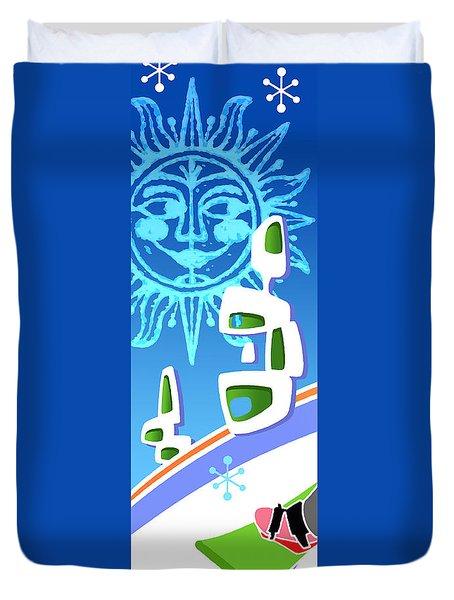 Snowboarder Diptych Left Side Duvet Cover