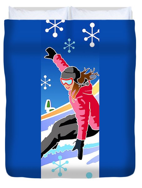 Snowboarder Diptych Right Side Duvet Cover