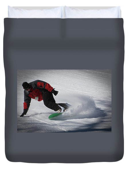 Duvet Cover featuring the photograph Snowboarder On Mccauley by David Patterson