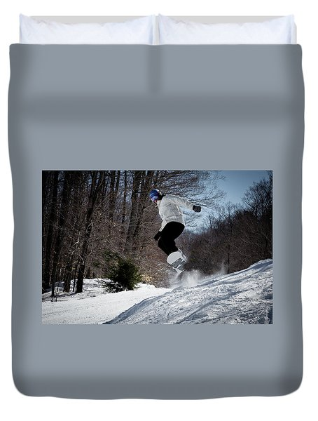 Duvet Cover featuring the photograph Snowboarding Mccauley Mountain by David Patterson