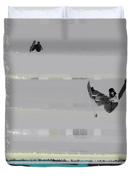 Snowboarding Duvet Cover by Naxart Studio