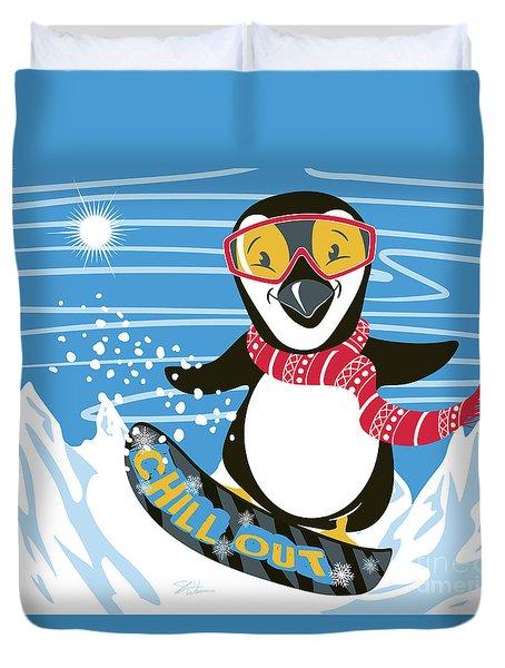 Snowboarding Penguin Duvet Cover