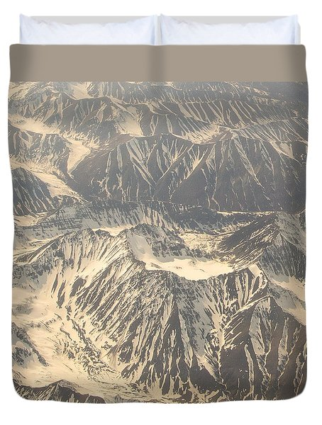 Snowcapped Inactive Volcano Duvet Cover by Allan Levin