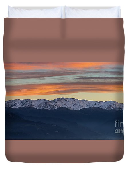 Snowcapped Miapor Range Under Golden Clouds, Armenia Duvet Cover