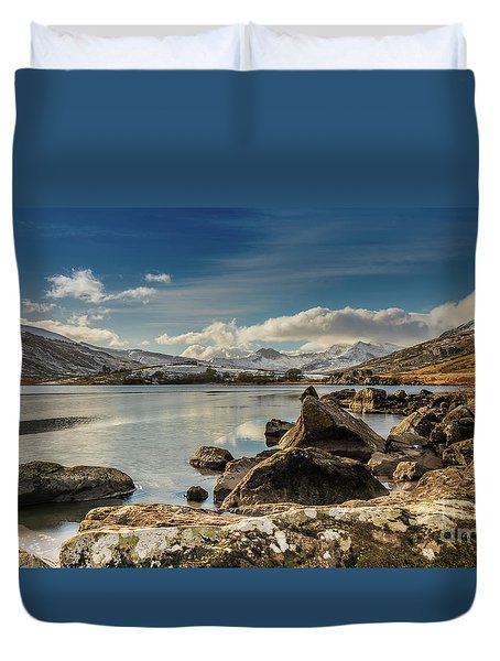Duvet Cover featuring the photograph Snowdon From Llynnau Mymbyr by Adrian Evans