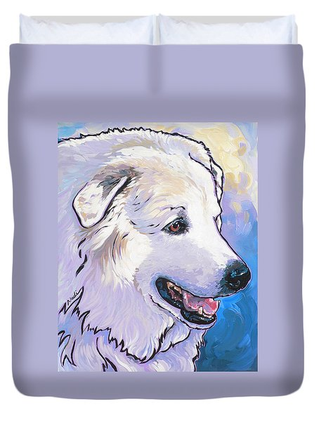 Duvet Cover featuring the painting Snowdoggie by Nadi Spencer