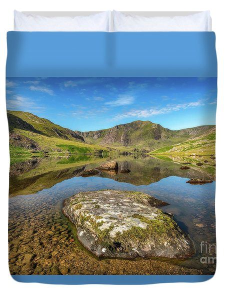 Duvet Cover featuring the photograph Snowdonia Mountain Reflections by Adrian Evans