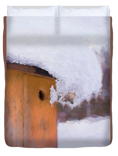 Duvet Cover featuring the photograph Snowdrift On The Bluebird House by Gary Slawsky