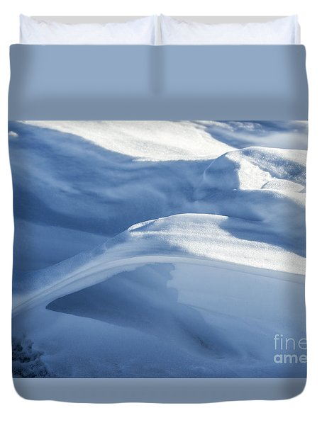Duvet Cover featuring the photograph Snowdrift Structure by Angela DeFrias