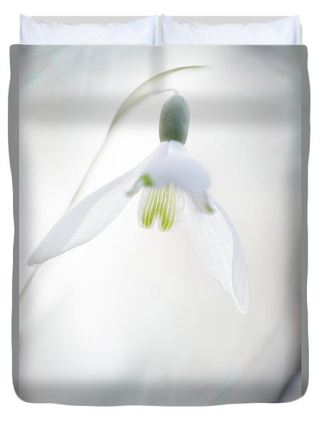 Duvet Cover featuring the photograph Snowdrop A Fragile Hint Of Spring by Dirk Ercken