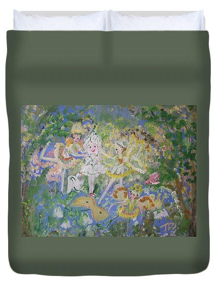 Duvet Cover featuring the painting Snowdrop The Fairy And Friends by Judith Desrosiers