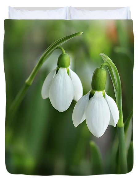 Duvet Cover featuring the photograph Snowdrops by Mary Jo Allen