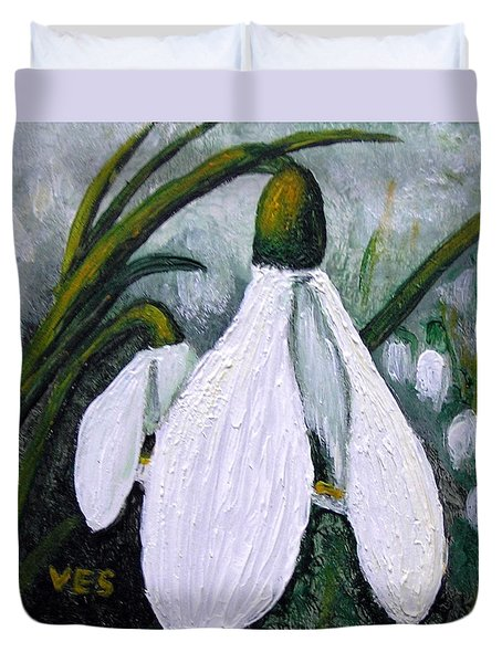 Snowdrops Duvet Cover by Vesna Martinjak