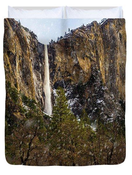 Snowfall Bridalveil Falls Duvet Cover