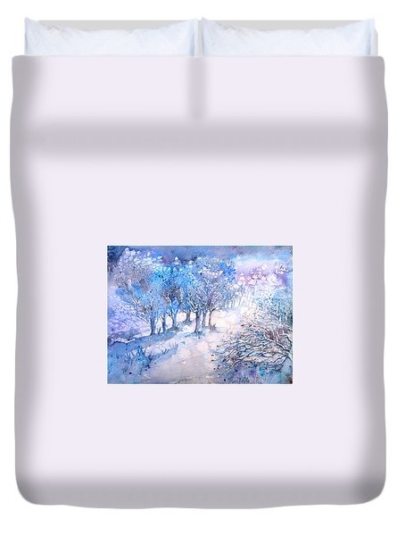 Snowfall In A Moonlit Wood Duvet Cover