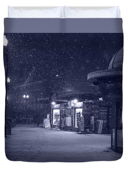 Snowfall In Harvard Square Cambridge Ma Kiosk Monochrome Blue Duvet Cover