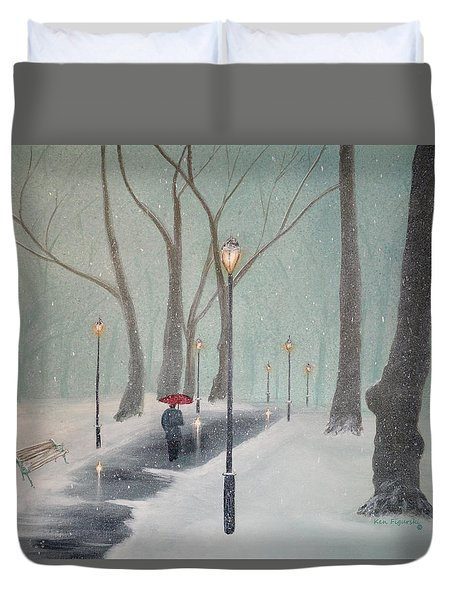 Snowfall In The Park Duvet Cover