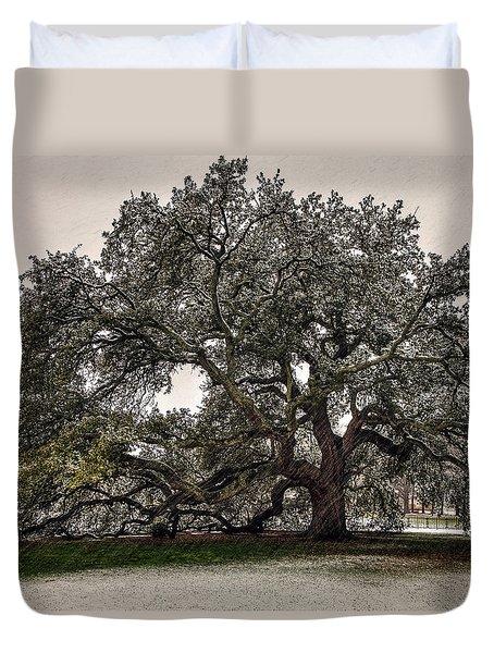 Snowfall On Emancipation Oak Tree Duvet Cover