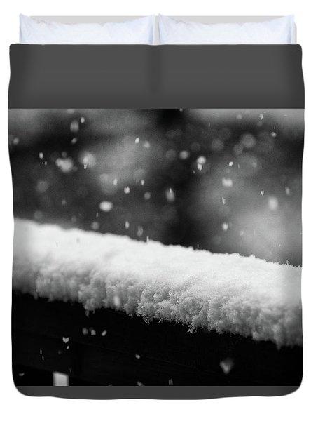 Snowfall On The Handrail Duvet Cover