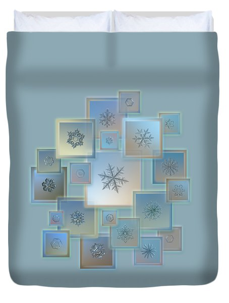 Duvet Cover featuring the photograph Snowflake Collage - Bright Crystals 2012-2014 by Alexey Kljatov