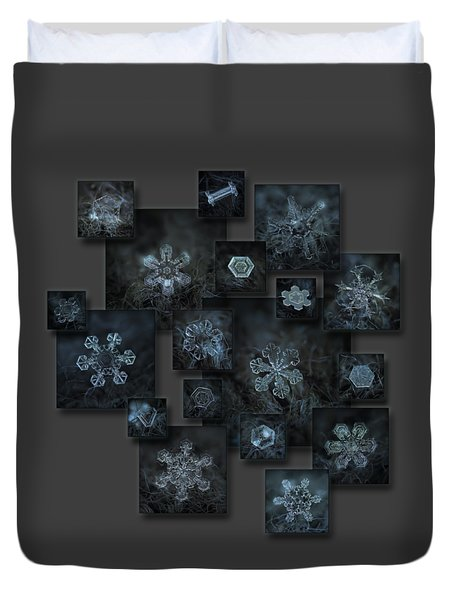 Duvet Cover featuring the photograph Snowflake Collage - Dark Crystals 2012-2014 by Alexey Kljatov