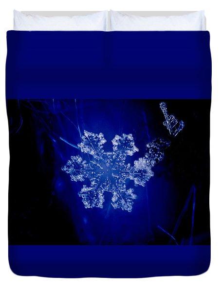 Snowflake On Blue Duvet Cover