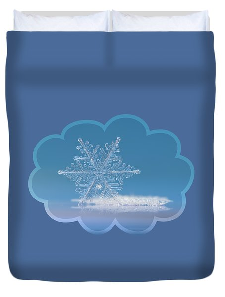 Duvet Cover featuring the photograph Snowflake Photo - Cloud Number Nine by Alexey Kljatov