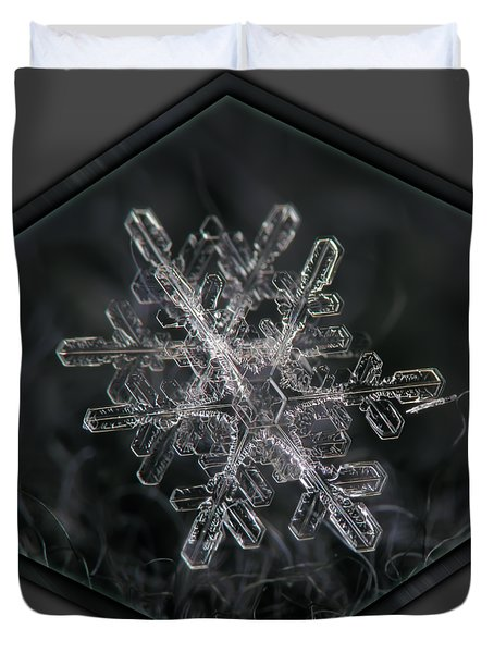 Snowflake Photo - January 18 2013 Grey Colors Duvet Cover