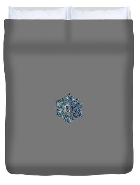 Duvet Cover featuring the photograph Snowflake Photo - Silver Foil by Alexey Kljatov