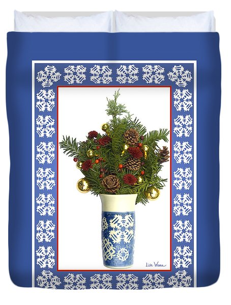 Snowflake Vase With Christmas Regalia Duvet Cover by Lise Winne