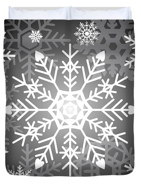 Snowflakes Black And White Duvet Cover