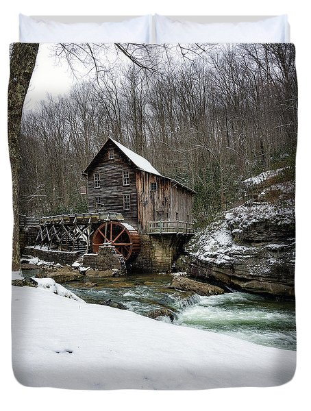 Snowing At Glade Creek Mill Duvet Cover
