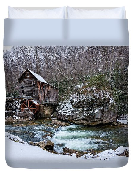 Snowing At The Mill  Duvet Cover