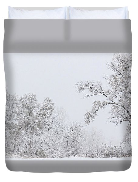 Snowing In A Starbucks Parking Lot Duvet Cover