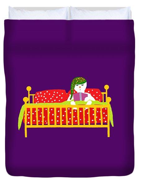 Snowman Bedtime Duvet Cover by Barbara Moignard
