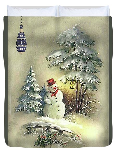 Duvet Cover featuring the digital art Snowman Christmas Card by Greg Sharpe