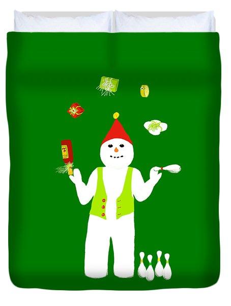 Snowman Juggler Duvet Cover by Barbara Moignard