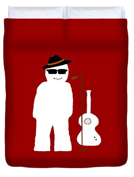 Snowman Musician Duvet Cover by Barbara Moignard