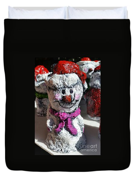 Duvet Cover featuring the sculpture Snowman Pink by Vickie Scarlett-Fisher