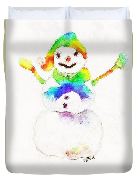 Snowman With Rainbow 1 Duvet Cover by Claire Bull