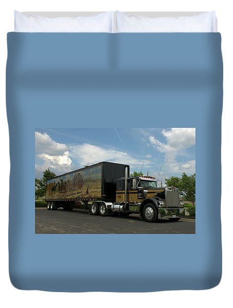Snowmans Dream Replica Semi Trruck Duvet Cover