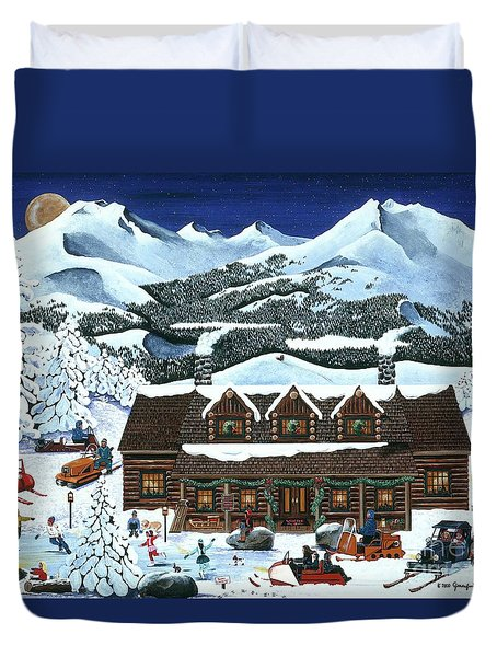 Snowmobile Holiday Duvet Cover