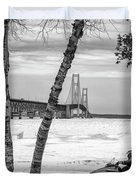 Duvet Cover featuring the photograph Snowmobile Michigan Black And White  by John McGraw