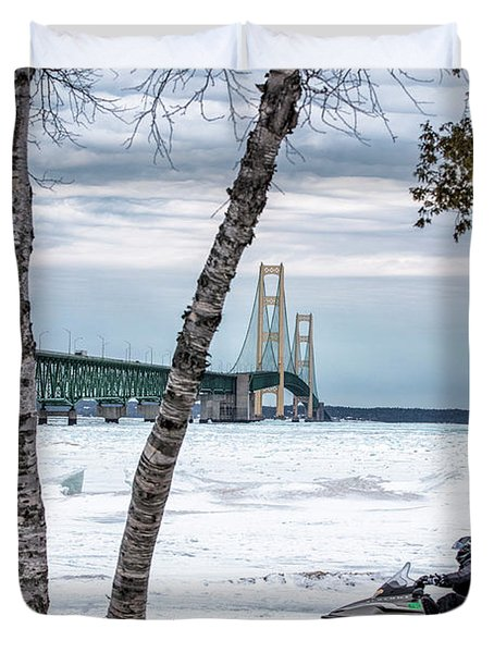 Duvet Cover featuring the photograph Snowmobile Michigan  by John McGraw