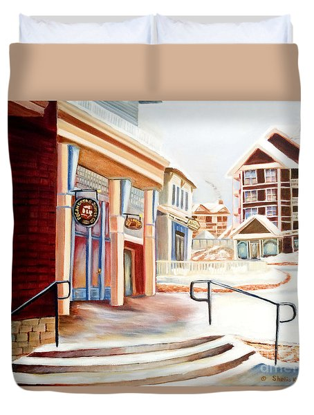 Duvet Cover featuring the painting Snowshoe Village Shops by Shelia Kempf