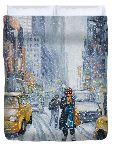 Urban Snowstorm Duvet Cover