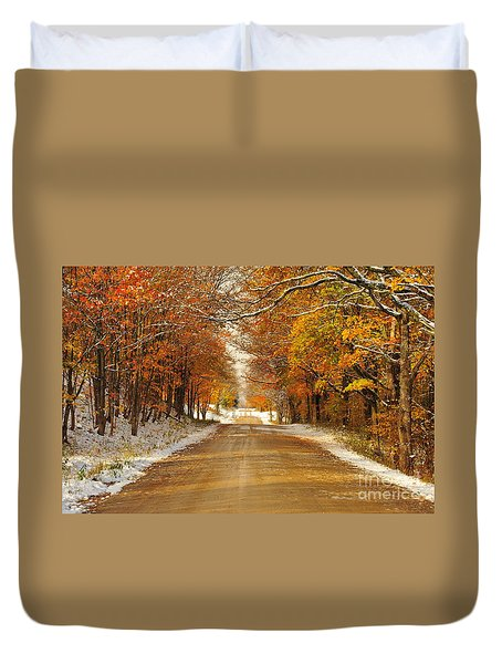 Snowy Autumn Morning In Pure Michigan Duvet Cover