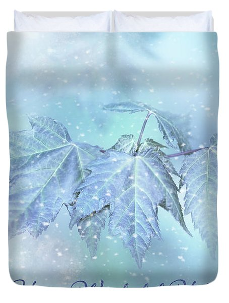 Snowy Baby Leaves Winter Holiday Card Duvet Cover